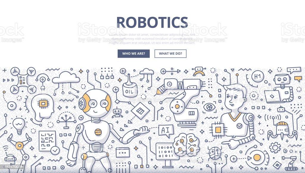 Robotics Doodle Concept vector art illustration