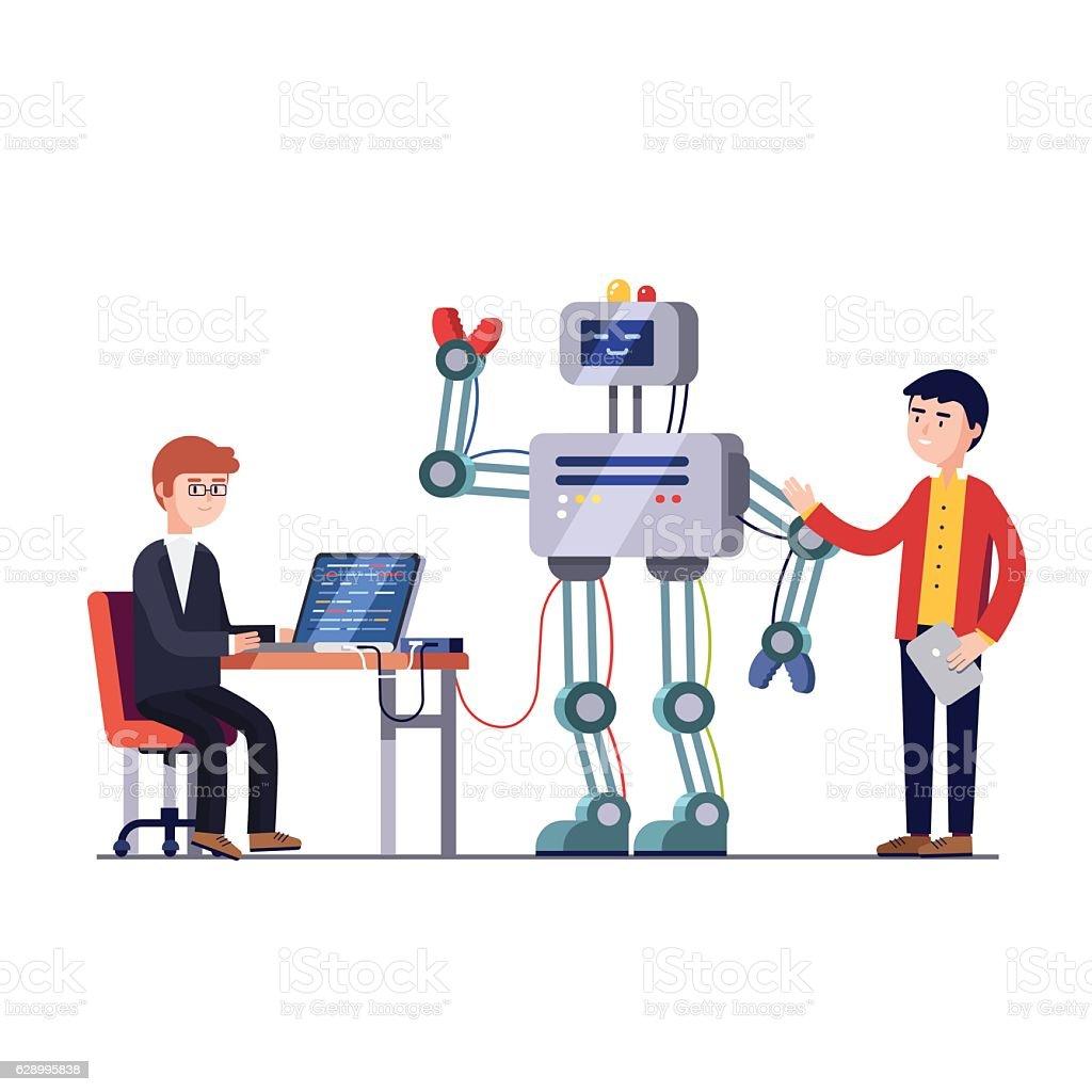 Robotics hardware and software engineering vector art illustration