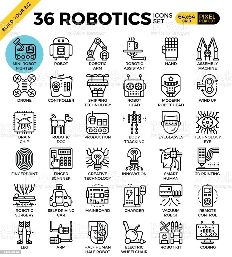robotics icon set vector art illustration