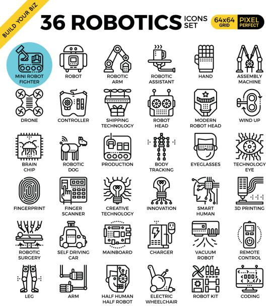 robotics icon set - robotics stock illustrations, clip art, cartoons, & icons