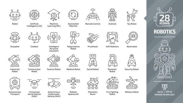 ilustraciones, imágenes clip art, dibujos animados e iconos de stock de icono de contorno de trazo editable de la industria robótica establecido con industrial, construcción, ciencia, médico social, doméstico, seguridad, militar, robot de lucha contra incendios y más símbolos de línea tecnológica. - robot
