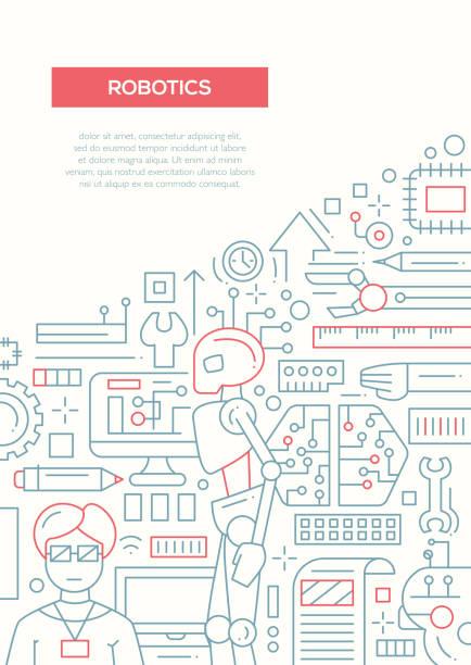 roboter - linie design-broschüre vorlage a4-poster - computergrundlagen stock-grafiken, -clipart, -cartoons und -symbole