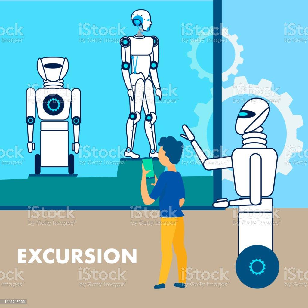 Robotics Museum Excursion Flat Poster Template Stock Vector