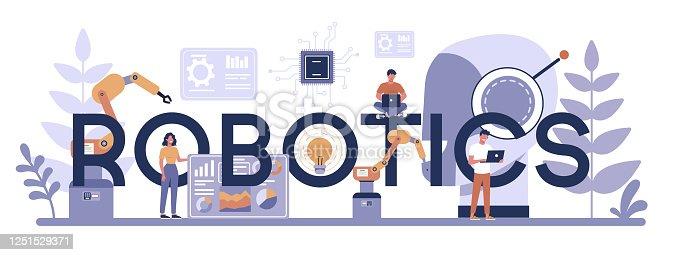 istock Robotics typographic header concept. Robot engineering and programming. Idea of artificial 1251529371
