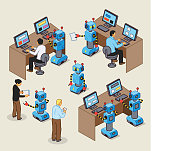 istock Robots and humans working together on computers 1270371919