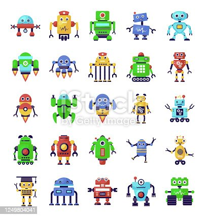 istock Robots and Superintelligence in Trendy Flat Icons Pack 1249804041