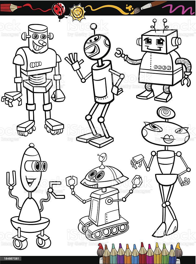 Ilustración de Robots De Historieta Para Libro Para Colorear y más ...