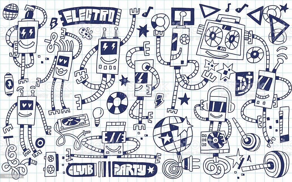 robots - doodles vector art illustration