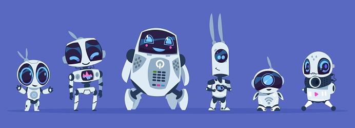 Robots evolution. Creative cartoon characters of futuristic robots, artificial intelligence education evolution concept. Vector AI set