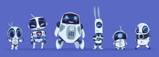 roboter evolution. kreative zeichentrickfiguren von futuristischen robotern, künstliche intelligenz bildung evolution konzept. vector ai-satz - computergrundlagen stock-grafiken, -clipart, -cartoons und -symbole