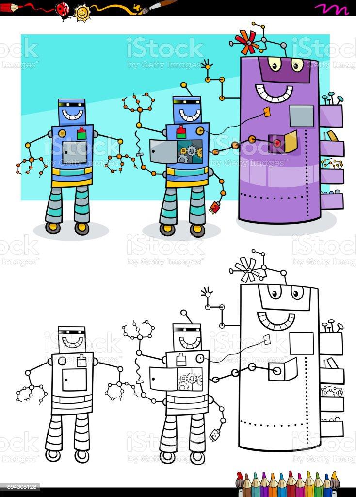 Ilustración de Robots De Fantasía Grupo De Personajes Para Colorear ...