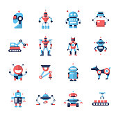 Robots - flat design icons set