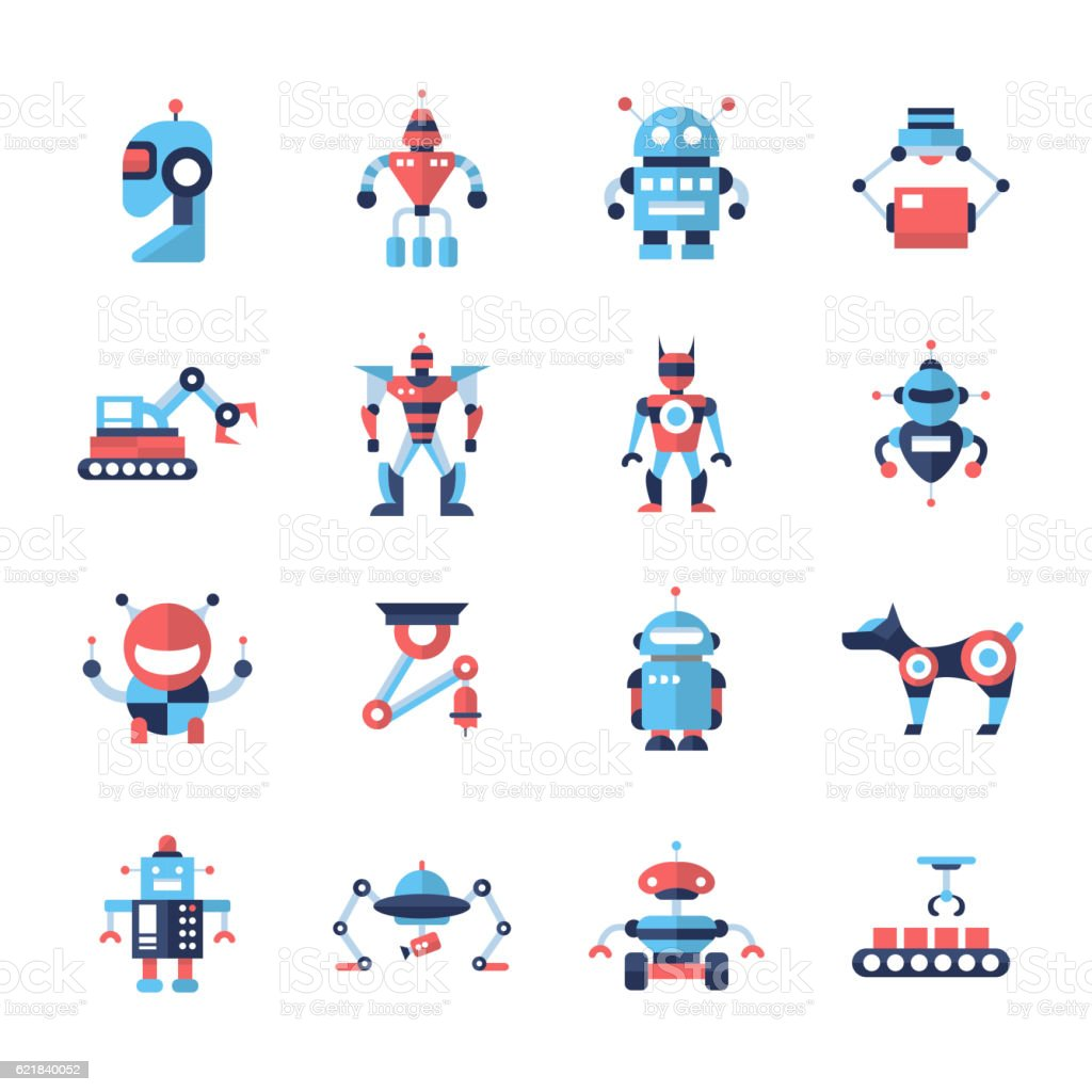 Robots - flat design icons set vector art illustration