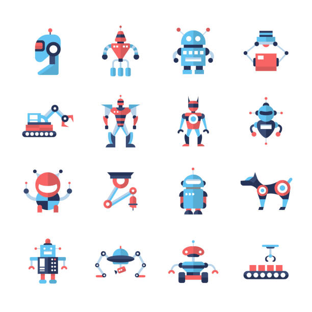 robots - flat design icons set - robotics stock illustrations, clip art, cartoons, & icons