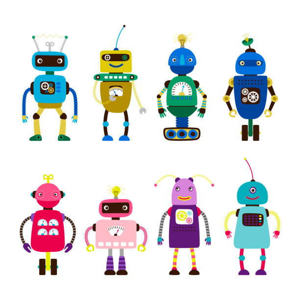 Robots for girls and boys vector isolated on white background vector art illustration