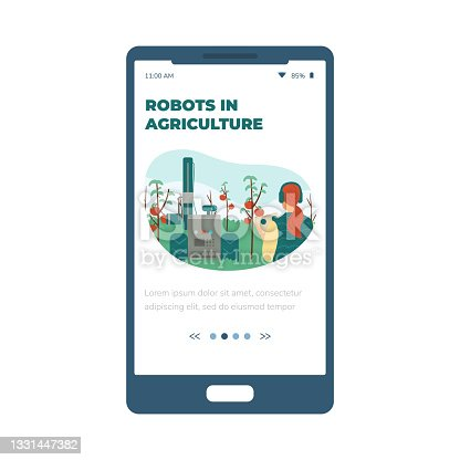 istock Robots in agriculture and smart farm mobile page, flat vector illustration. 1331447382