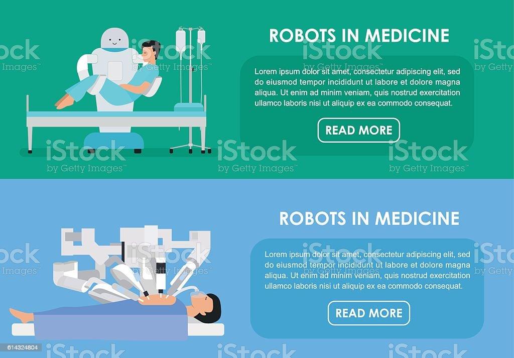 Robots in medicine. Vector illustration. Flat vector art illustration