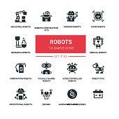 Robots - line design silhouette icons set