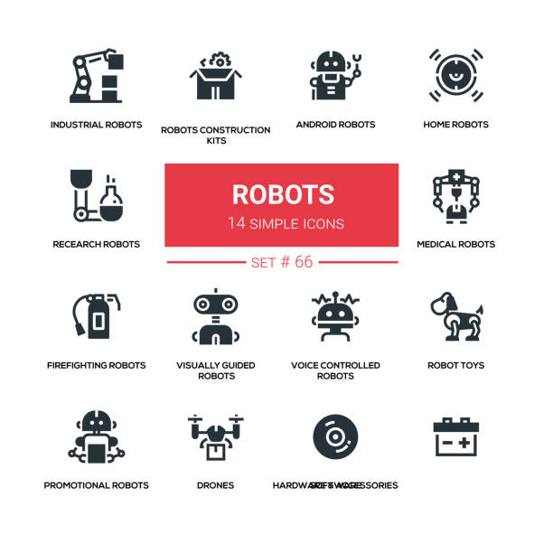 robots - line design silhouette icons set - robotics stock illustrations, clip art, cartoons, & icons