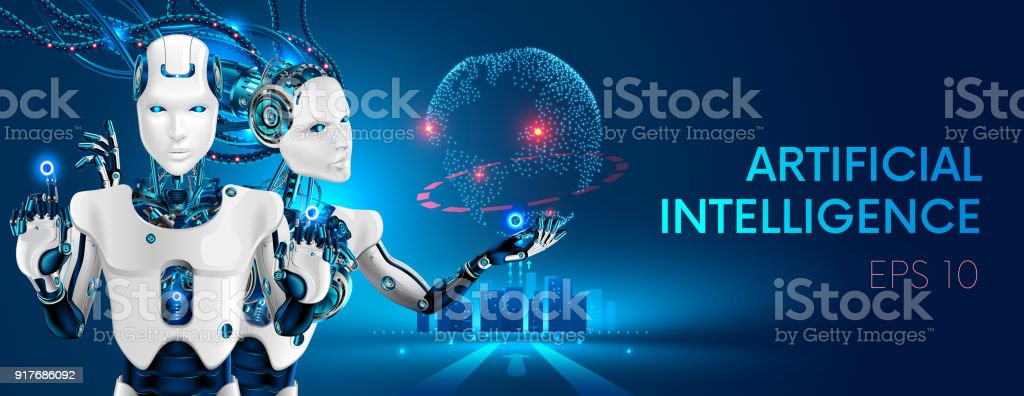 Robots man and woman with artificial intelligence working with virtual interface in cybernetic reality. Machine, learning. AI control global business process. Futuristic 3d vector illustration concept vector art illustration