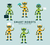 Robot's occupations. Set of smart robots holding positions waiter, postman, repairman, cook, nurse. Future technologies. Collection of cute robots isolated on a blue background. Vector illustration.