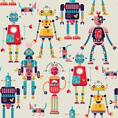 Robots of different shapes and multiple collors. Seamless background pattern.