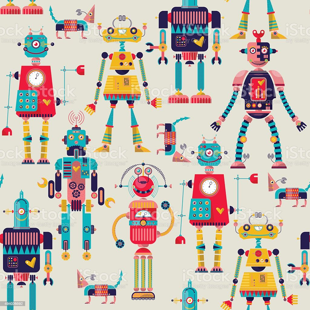 Robots of different shapes and multiple collors. Seamless background pattern. vector art illustration