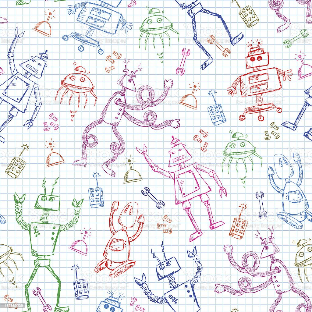 robots pattern royalty-free stock vector art