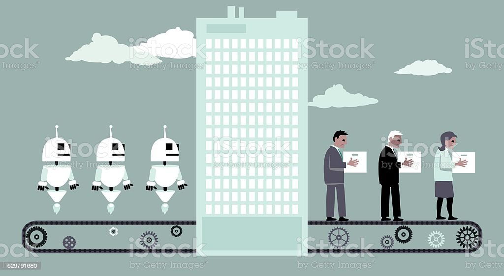 Robots replacing people vector art illustration