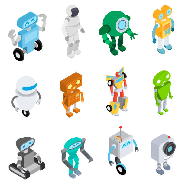 Robots set in isometric style, robots and androids of various shapes. Isolated vector Illustrations transformer stock illustrations