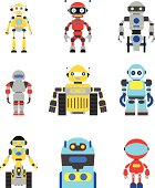 Abstract robots set isolated on white background. Vector illustration