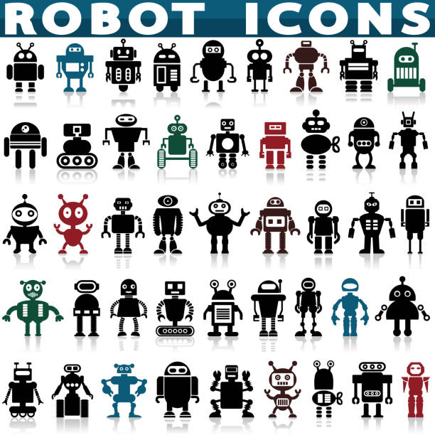 robots vector cartoon - robotics stock illustrations, clip art, cartoons, & icons