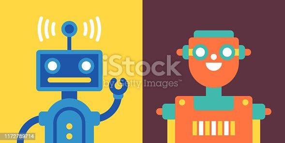 Automated robots flat design faces.