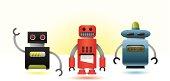 Set of three cool vector robots.