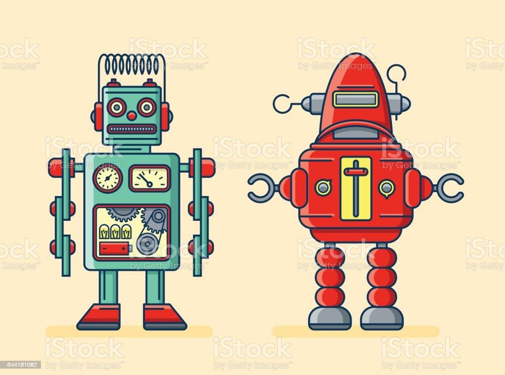Robots vector art illustration