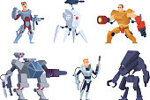Robots warriors. Characters in exoskeleton brutal future soldiers technology android with guns vector cartoon mascot