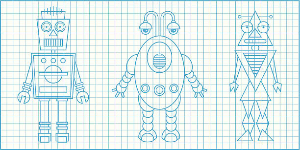 Royalty free robot blueprint clip art vector images illustrations robotsblueprintg vector art illustration malvernweather Images