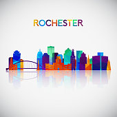 Rochester skyline silhouette in colorful geometric style. Symbol for your design. Vector illustration.
