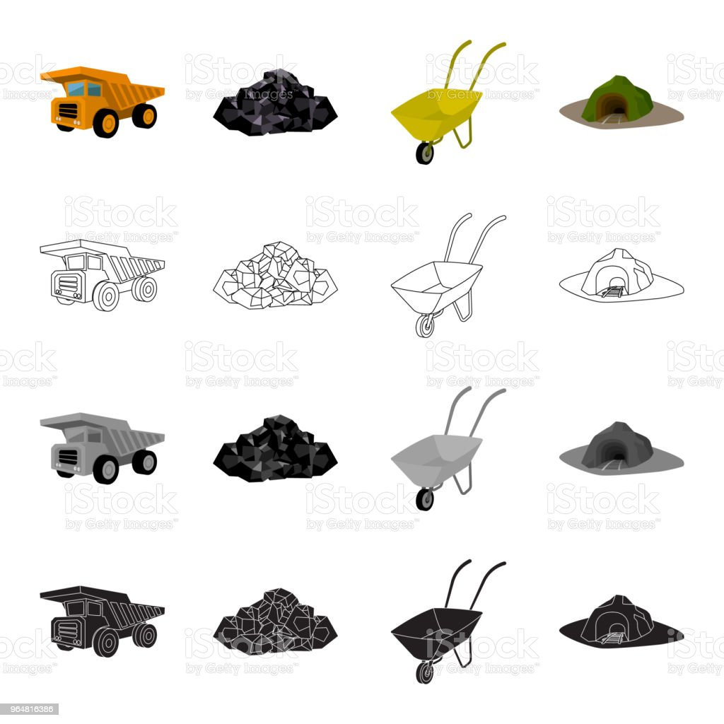 A rock, a large dump truck, a wheelbarrow, an entrance to the mine. Mining industry set collection icons in cartoon black monochrome outline style vector symbol isometric stock illustration web. royalty-free a rock a large dump truck a wheelbarrow an entrance to the mine mining industry set collection icons in cartoon black monochrome outline style vector symbol isometric stock illustration web stock vector art & more images of appliance