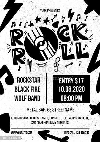 istock Rock and roll advertising monochrome poster vector 1313266605
