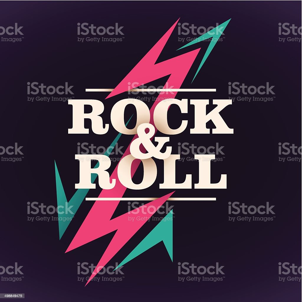 Rock and roll background design. vector art illustration