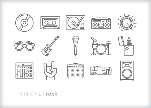 Rock and roll band line icons set