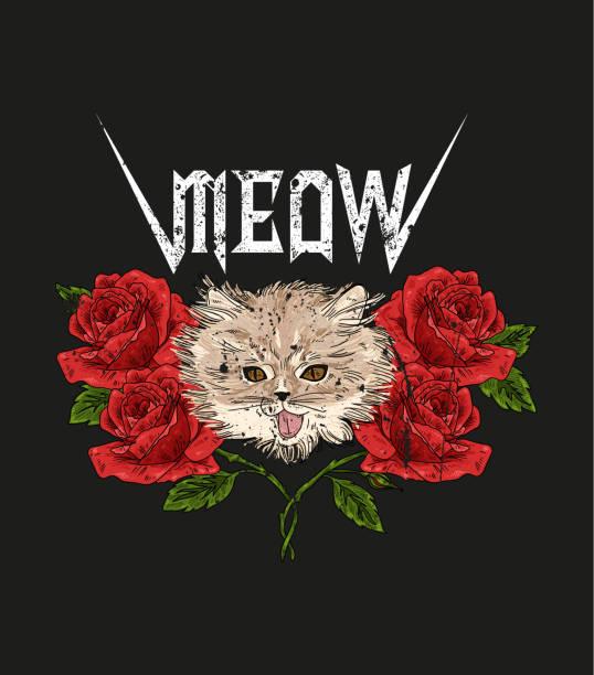 stockillustraties, clipart, cartoons en iconen met rock and roll kat en rozen. typografie grafische print, mode tekening voor t-shirts. vectorillustratie in moderne stijl voor kleding. - miauwen