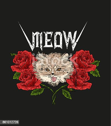 Rock And Roll Cat And Roses Typography Graphic Print