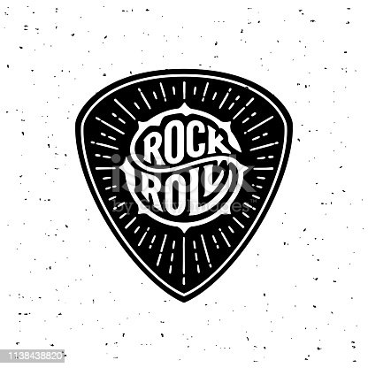 Rock and Roll sign. Slogan graphic for t shirt. Poster with plectrum, starburst. Vector illustration
