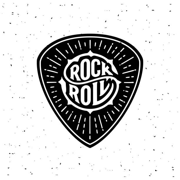Rock and Roll circle lettering on the plectrum Rock and Roll sign. Slogan graphic for t shirt. Poster with plectrum, starburst. Vector illustration rock music stock illustrations