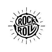 Rock and Roll sign. Slogan graphic for t shirt. Handwritten calligraphic lettering for greeting cards, posters, prints or home decorations. Vector illustration