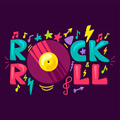 Rock And Roll Concept With Vintage Record