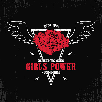 Rock and roll, girls power - grunge typography for t-shirt, women clothes. Fashion print for female apparel with rose and wings. Vector illustration.