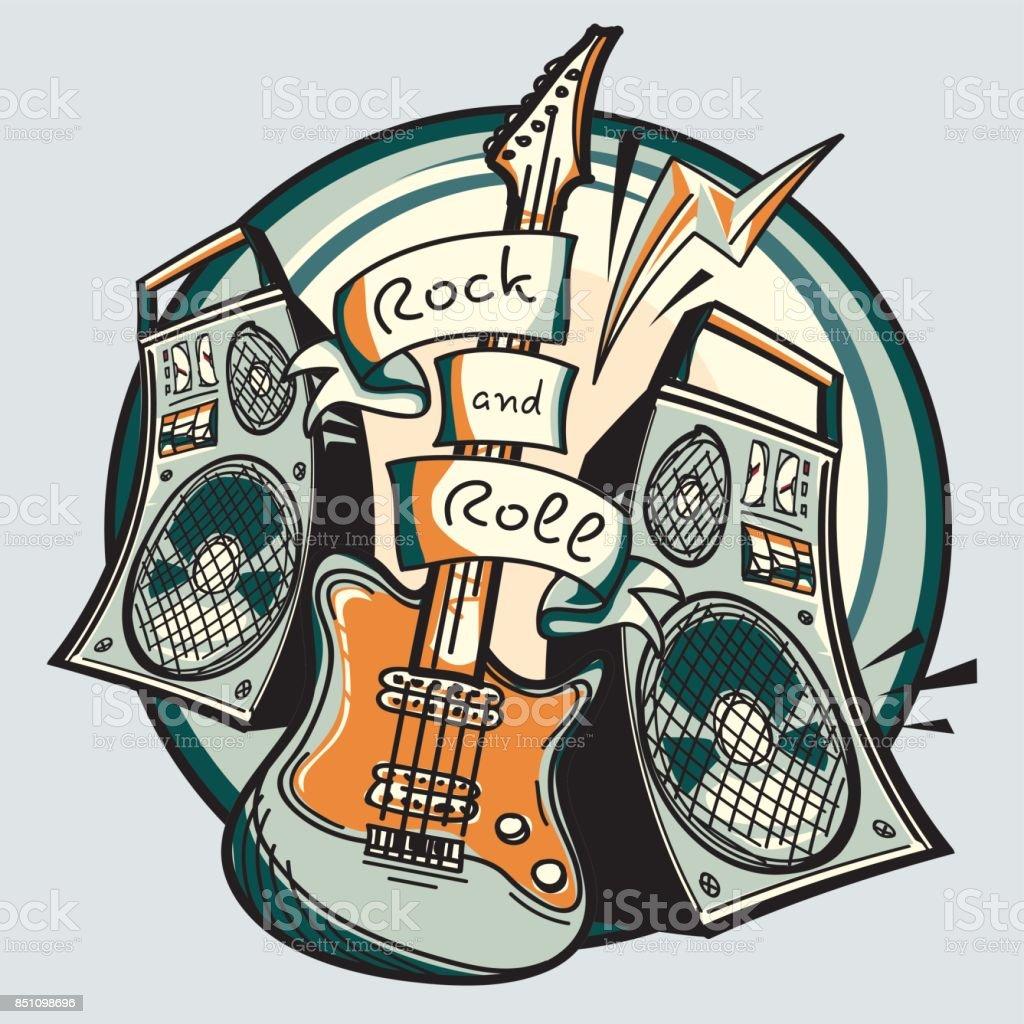 Ilustración de Amplificadores Y Guitarra De Rock And Roll y más Vectores  Libres de Derechos de Abstracto - iStock